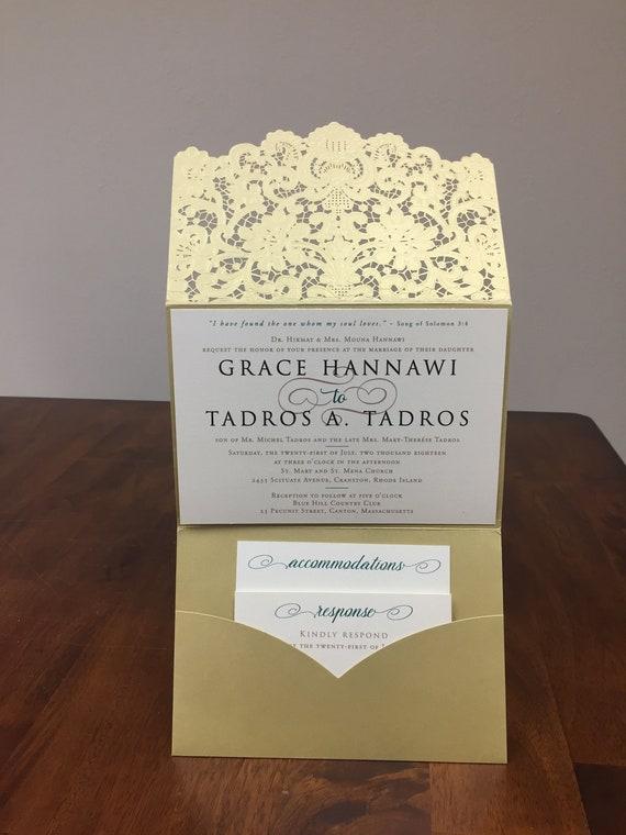 Laser cut wedding invitations horizontal laser cut pocket like this item stopboris Choice Image