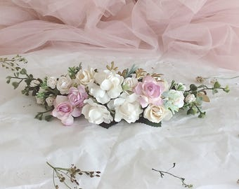 Pale purple and gold and grenery headpiece, floral hair piece, pale purple hair clip, bridal hair piece, pale purple quarter wreath, bridal