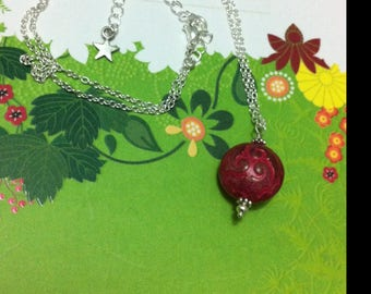 Fancy pink and silver ball pendant necklace