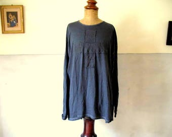 Vintage, French long sleeved t-shirt, dyed inky blue, embellished with antique linen, hand stitched, 45 euro no. 1