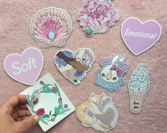 Softie sticker pack - Choose 3! - cozy cats - together vinyl sticker - cry baby - Lovestruck Prints