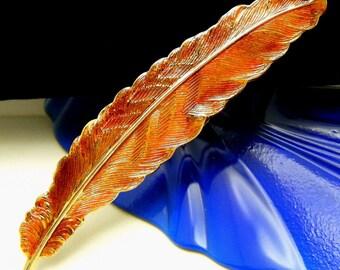 Vintage Orange Enamel Feather Brooch Beautiful Rich Color Gold Tone