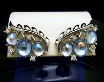 Crown Trifari Jewels of Fantasy Earrings Blue Mirrored Cabochons Rhinestones
