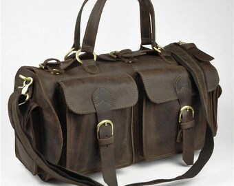 Leather Travel Bag, Brown Leather Weekender Bag, Rustic leather Duffel, Vacation Duffel, Large Leather Travel Bag for Men and Women