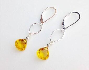 "Madera Citrine Quartz Earrings ~ Quartz Citrine Jewelry ~ Sterling earrings ~ Easter jewelry ~ gift idea ~ yellow jewelry ~""Sun Tears"
