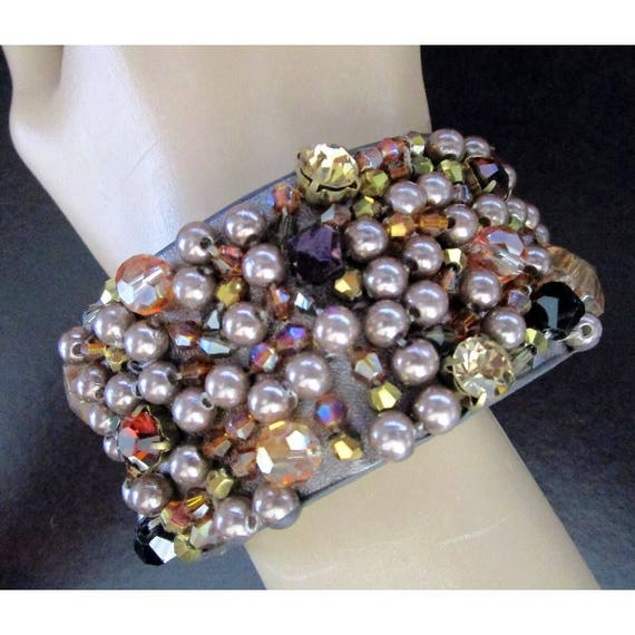 Pretty Mauve and Golden Champagne colored faux Pearls & Gems on a Brown Leather Cuff