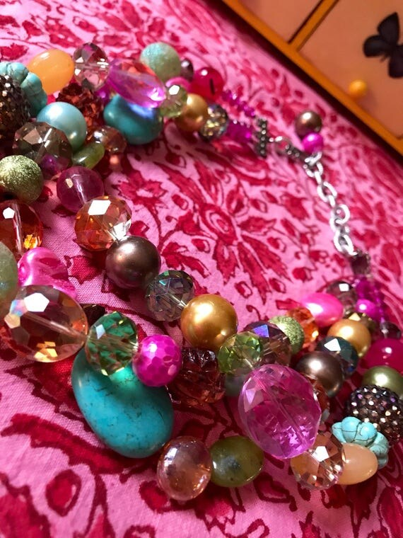 Super Flirty Fun 80's pop culture mix media Pinks Pastels & golden Crystal art beads Bling Statement Neckace