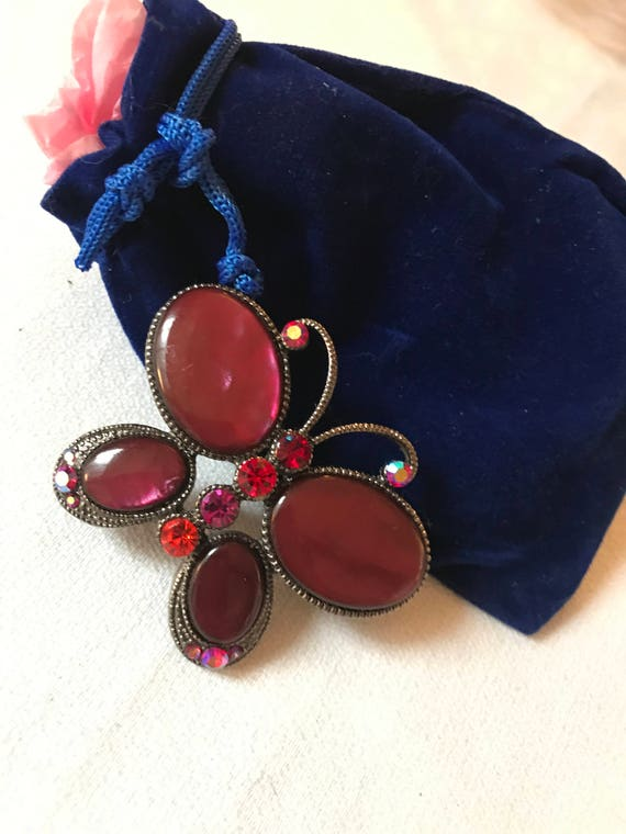Bling Treat! 10 Dollar Bling goodie this one is a Lovely Vintage Red lucite Cabochon  Butterfly Brooch Pin Great treat gift