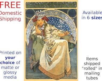 Alphonse Mucha: Princezna Hyacinta - Vintage Art Nouveau Poster/Print (186837902)