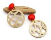 Horn earrings, Clip on Dangle Earrings, Dangle Earrings, Horn Jewelry, Natural Jewelry,  Statement large earrings , Gift for her, for Mom