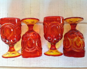 4 Vintage Moon and Stars amberina goblets pressed glass water goblets amber / red / orange glassware 1970's glassware LE Smith Wright Glass