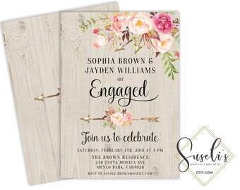 Engagement Party Invitation printable We're engaged Boho Engagement party card Blush Watercolor Flowers, DIY Card Kit DIGITAL FILE, WS37