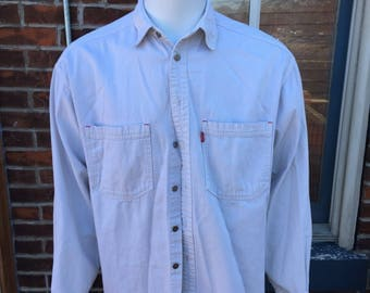 Levi's classic white large long sleeve button up work shirt