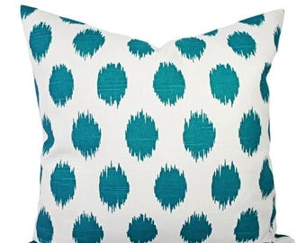 15% OFF SALE Turquoise Ikat Pillow Covers - Two Turquoise Blue and White Throw Pillows - Polka Dot Throw Pillow - Turquoise Pillow - Teal Pi