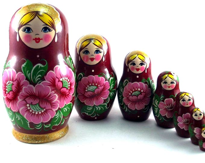 Nesting Dolls 7 pcs Russian Matryoshka doll Traditional babushka doll Russian stacking dolls for kids Art Wooden russian doll Red flowers