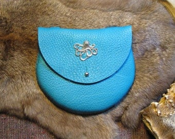 Turquoise bull hide leather flat-panel sporran belt pouch with steel button stud and octopus pendant, all hand-stitched #1142