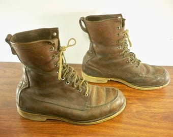 Vintage Doublewear Shoe Co, Minneapolis, Minnesota Brown Leather Sport Hunting Work Chukka Men's Soft Toe Boots Size 8.5 Wide Made in USA