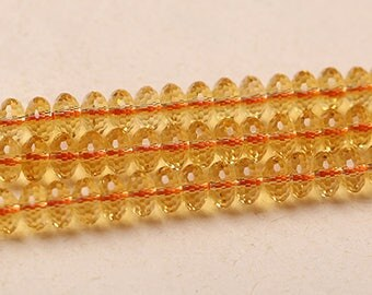 Citrine Beads, Citrine Gemstone Beads, Yellow Quartz Beads, Rondelle Faceted Beads, 5x8mm 15''