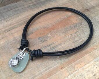 Sea Glass Pineapple Charm Bracelet - Pineapple Bracelet, Real Sea Glass Bracelet, Sea Glass Charm Bracelet, Beach Glass Bracelet