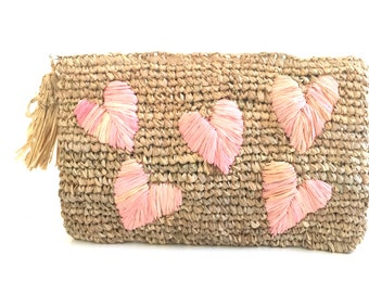 Straw Bag Heart, Raffia Clutch, Summer, Clutch Purse, Bridal Shower Gift, Bridesmaid Clutch