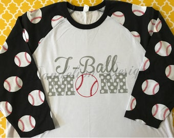 T-Ball Mom Shirt Raglan with Decorative Sleeves Mom Momma Mommy Son Daughter Baseball T-Ball TBall Polka Dots Baseballs Red Blue Black Gray