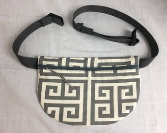Charcoal Greek Key Fanny Pack, Waist Bag, Festival Bag, Hip Pouch, Bum Bag, Belt Bag