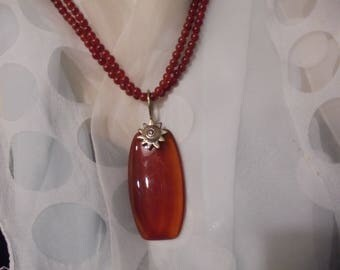 Sterling Silver Carnelian Beaded Necklace Pendant  Necklace  36 in.