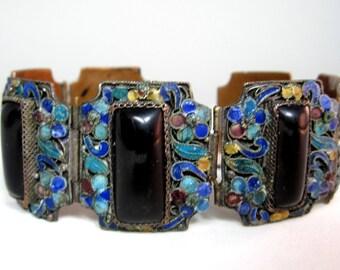 Antique Chinese brass enamel bracelet with onyx stone