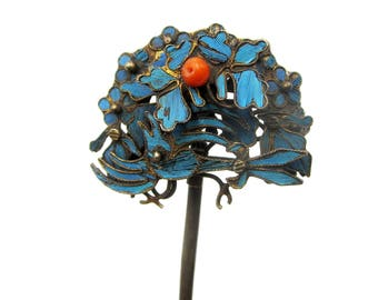 Antique Chinese Qing dynasty kingfisher hair piece