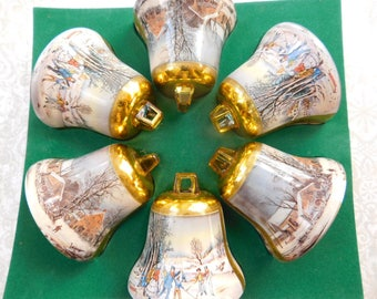Set of Six Currier and Ives Vintage Christmas Ornaments