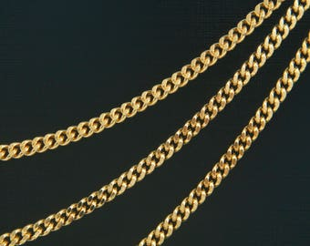 Chunky Curb Chain, CJ33-03, Nickel free, 1m, 3.8mm wide, 2mm thick, 16K Gold Plated Brass, Curb Chain, Heavy Chain, Thick Chain, 110-2DC