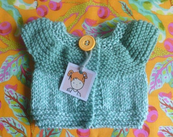 Hand knitted turquoise Cardigan.