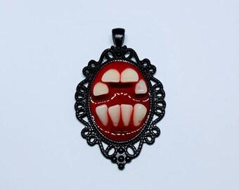Faux Human Teeth Necklace Pendant