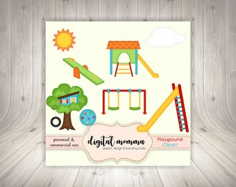Playground, School Clipart, Preschool, Back to School, Play Set Clipart, .PNG, Personal & Commercial Use, Instant Download!