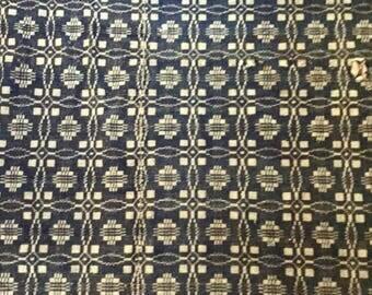 Linsey Woolsey Coverlet, Indigo Blue and White, Antique Coverlet, Farmhouse Decor, Antique Textiles, Supplies