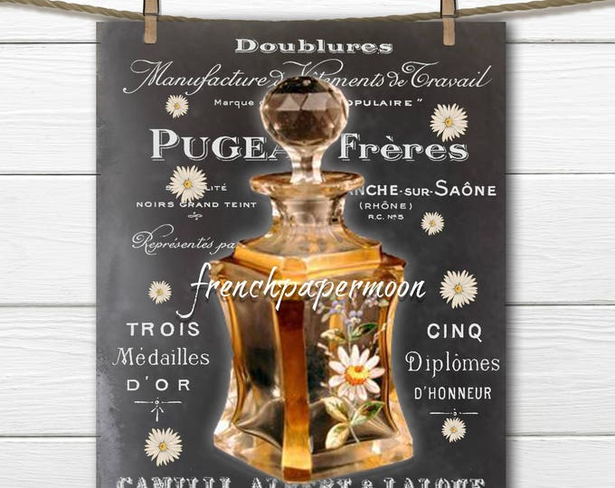 Shabby Vintage French Perfume Digital, Perfume Daisies Digital Download, French Pillow Graphic transfer Chalkboard Printable