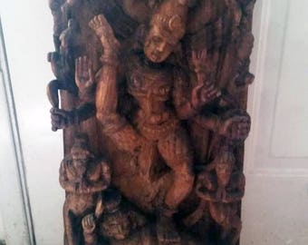HUGE Vintage Indian Hindu Panel Shiva - 30 inches height. Very detailed. Hindi India