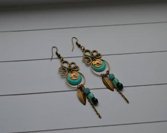 """""""Valéria"""" crystal earrings, glass, chrysocolla, sequin epoxy enamel and brass"""