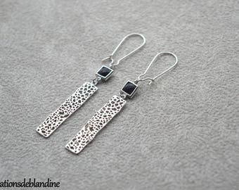 """Earrings """"Ariane"""" Silver rhodium plated and glass connector"""