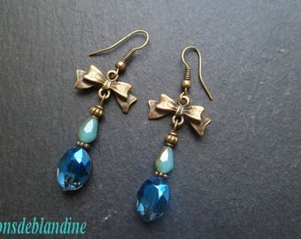 Earrings glass and Crystal 2 tones