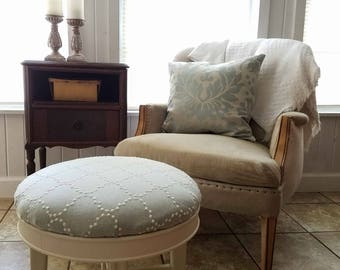 Vintage Upholstered Footstool Ottoman with Soft Green Upholstery ~ Modern Cottage Chic Decor