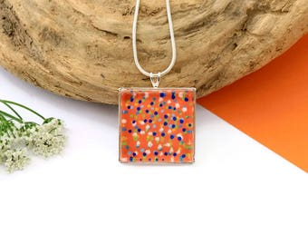 Hand Painted Square Necklace, Hand Painted Jewelry, Unique Necklace, Wearable Art, Art Jewelry, Original Gift, Gift For Her, Glass Necklace