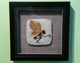 OOAK fossil faerie/fairy. Framed. Unusual gift. Goth. Wicca