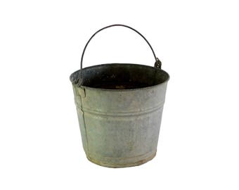 Vintage Galvanized Bucket, Stamped 1102, Rustic Metal Bucket, Farmhouse Decor, Cottage Style, Water Bucket, B1