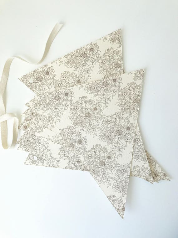 "brown ""transferware"" fall floral pennant bunting"