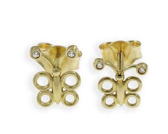 Butterfly Stud Earrings, Yellow Gold 18K, Diamonds, Girls earings, Teenage Girl, Dainty Studs, First fine jewelry, First Diamond