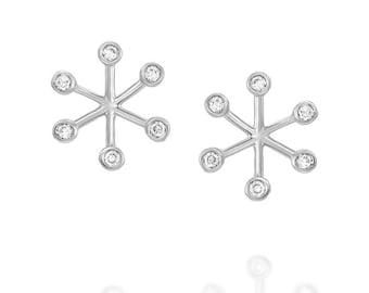 18K White Gold,  Diamond Round,  Star  Earrings  1/10 CTW