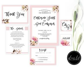 Pink flower watercolor bouquet , pastel roses, wedding invite, invitation galm ,modern minimal ,luxury elegant, floral RSVP, thank you card
