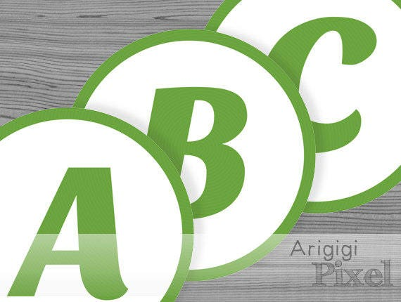 printable green banner letters - alphabet & number - circle 6 in