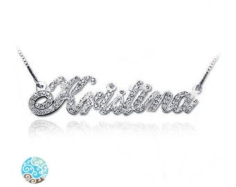 All Diamond 14k White Gold Personalized Necklace